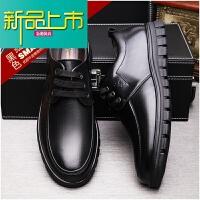新品上市休闲皮鞋男士青年真皮圆头系带牛皮春季英伦单鞋商务正装软底