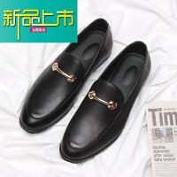 新品上市豆豆鞋男新款社会精神小伙潮鞋英伦风男士休闲皮鞋一脚蹬型师鞋