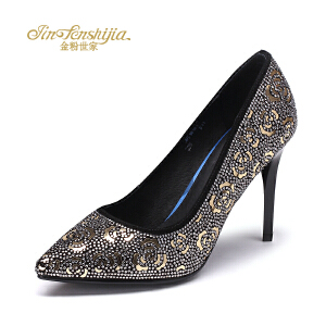 红蜻蜓旗下品牌金粉世家女鞋秋冬休闲鞋鞋子女单鞋高跟鞋JFB1012