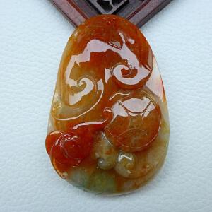 红翡老坑缅甸翡翠精雕如意 福在眼前吊坠 配A货证书J-HBG-AOBO-HAF
