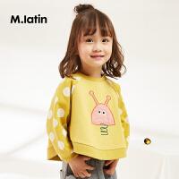 【1件4折后到手价:135.6元】马拉丁童装女小童卫衣2019春装新款宽松蝙蝠袖套头黄色儿童卫衣