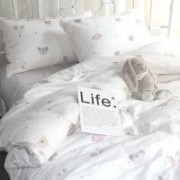 卡通双层纱婴儿裸睡全棉四件套透气流苏小清新纯棉三件套床上用品