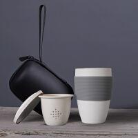 普智 2019新款马克杯随手杯 办公室陶瓷茶杯 茶水分离陶瓷 带过滤网水杯 多用途便携办公旅行马克杯