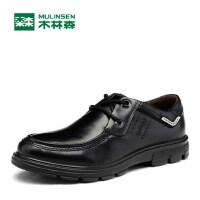 木林森新款男鞋男士休闲皮鞋男英伦系带高档皮质鞋子男单鞋230479