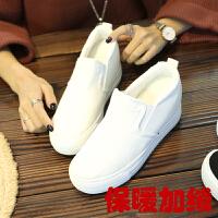 2018冬季新款加绒内增高帆布鞋女棉鞋一脚蹬懒人鞋学生保暖小白