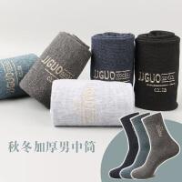 男士秋冬中筒棉袜金线提花商务休闲中腰男袜子棉质袜