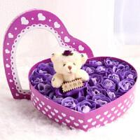 七夕情人节礼物 毛绒小熊心形玫瑰香皂花 精美心型礼盒