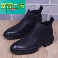 新品上市男靴子韩版马丁靴潮流内增高皮靴英伦风尖头高帮皮鞋男工装靴