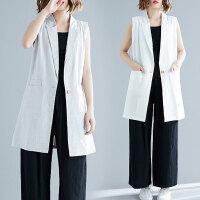 适合胖女人穿的外套洋气宽松减龄中长款时髦无袖马甲春季新款