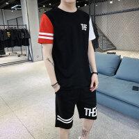 男短袖t恤夏季韩版潮流休闲七分袖男士套装运动体恤男装衣服夏装118