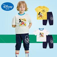 迪士尼2019新品夏装男童短袖套装儿童运动套装夏洋气中小童两件套