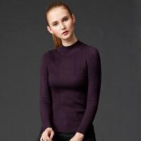2018秋冬新款半高领打底衫长袖紧身修身显瘦镂空针织衫女套头毛衣 均码