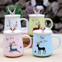 汉馨堂 马克杯 带盖创意鹿角圣诞陶瓷水杯女小鹿杯子情侣马克杯咖啡杯骨瓷牛奶杯早餐杯