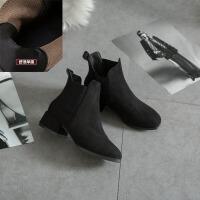马丁靴女2018新款秋冬季潮小靴子复古磨砂英伦风女鞋社会短靴粗跟