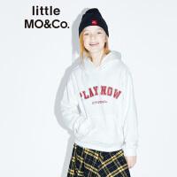 littlemoco秋季新品女童卫衣男童卫衣标语连帽卫衣长袖套头帽衫