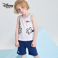 迪士尼童装男童夏季套装短袖短裤两件套纯棉A类卡通潮中大童2020