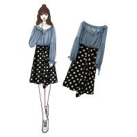 胖妹妹两件套大码女装2019春夏新款减龄显瘦雪纺上衣半身裙子套装 两件套