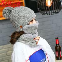白领公社 帽子 女士冬季韩版新款保暖加绒加厚围巾口罩套装女式潮流百搭针织毛线学生帽子