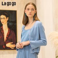 【5折价179.5】Lagogo/拉谷谷2019春季新款V领喇叭袖纯色针织衫女IAMM862M07