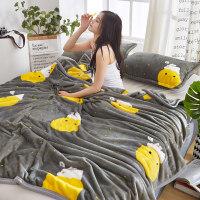 珊瑚毯子冬季加厚保暖毛绒单件加绒垫床单人宿舍小被子法兰绒毛毯k