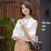 艾莱依2019夏新款优雅甜美荷叶边装饰半袖小衫雪纺衫女601822062