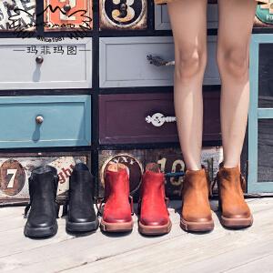 玛菲玛图拉链短靴女齐踝短靴秋季磨砂马丁靴2018新款时装靴中跟平底及踝靴5309-24