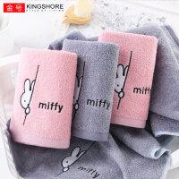 金号米菲纯棉毛巾 2条装可爱卡通兔 男女成人加厚大吸水洗脸面巾