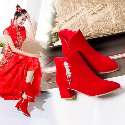 婚鞋女2018新品冬季韩版加绒红色短靴粗跟高跟结婚新娘鞋婚靴 红色 5cm粗流苏  春节期间放假时间1.31号到2.11,放假期间暂停发货以及售后处理,正月初七恢复