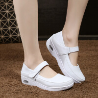 2019新款女护士鞋白色坡跟气垫夏季凉鞋舒适平软底透气真皮单鞋天