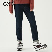 GXG男装 秋季热卖韩版ins时尚潮流蓝色水洗直筒牛仔长裤男