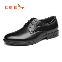 红蜻蜓男鞋秋冬新款商务正装皮鞋加绒低帮系带男单鞋正品