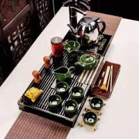 功夫茶具套装家用整套简约实木茶盘茶壶孔雀绿冰裂小兰香二合一套功夫茶具套装