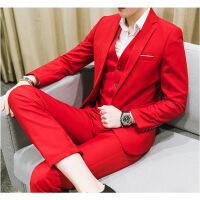 【秋冬新品】高端专柜品牌职业大码西服套装男士三件套韩版西装正装男红色新郎伴郎结婚礼服