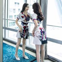 女装夏天时尚印花不规则法国小众连衣裙很仙的流行裙子仙