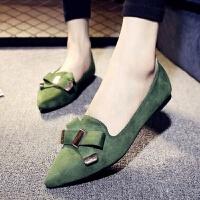 绒面浅口平跟单鞋春秋新款韩版尖头平底鞋女鞋蝴蝶结四季鞋豆豆鞋