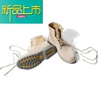 新品上市二十八间原创秋季男鞋复古高帮工装靴子潮流男士大头皮鞋高帮皮鞋 卡其色