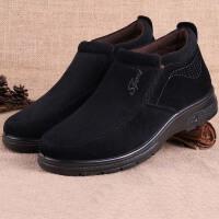 老北京布鞋男鞋软底高帮中老年爸爸鞋加绒保暖一脚蹬老人棉鞋