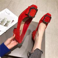 粗跟中跟女鞋2019春季新款单鞋方头浅口绒面水钻搭扣低帮鞋韩版女