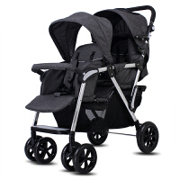 双胞胎婴儿推车高景观双人双座前后座可躺便携折叠二胎宝宝手推车 豪华版=旗舰版+ 脚套