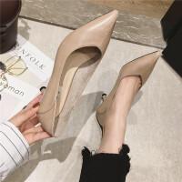 高跟鞋女2019春季新款时尚尖头细跟中跟百搭通勤工作鞋34小码单鞋