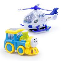 【2件装】电动万向玩具车 儿童男孩灯光音乐仿真模型声乐灯光飞机火车