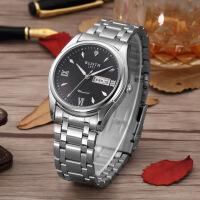 沃力仕手表男士不锈钢商务石英表防水夜光商务职场非光度手表