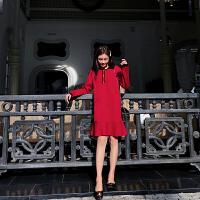 卡贝琳女2019新款秋装法式复古裙山本荷叶边连衣裙女冬超仙红色针织毛衣裙女