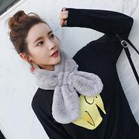 韩版仿毛毛绒獭兔毛围巾男女冬季韩国学生毛领子围脖套头百搭交叉