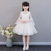 女童公主裙蓬蓬纱白色花童婚纱儿童生日晚礼服