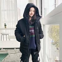 羽绒男潮2018冬季新款连帽短款运动棉棉袄外套女 黑色