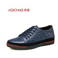 奥康 新款商务休闲鞋韩版时尚男式6cm隐形内增高鞋男皮鞋