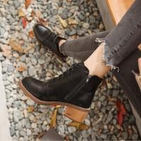 切尔西短靴女2019韩版秋春季新款平底加绒棉鞋子百搭英伦风马丁靴