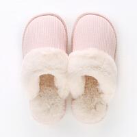 日式家居拖鞋女冬季厚底保暖棉拖鞋男情侣室内居家用滑毛毛拖鞋 浅 粉