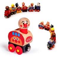 面包超人木制磁性拖拉小火车儿童趣味木偶玩具可搭配轨道积木 磁性面包六节小火车